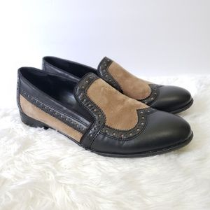 Leather Wingtip Slip On Loafers
